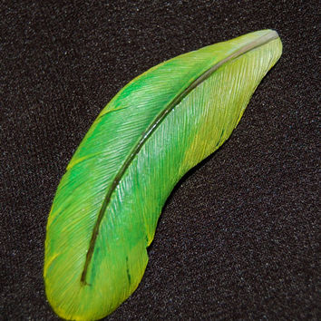 Hand Carved Green Macaw Wood Feather Brooch- handmade bird brooch macaw brooch green brooch gift for her feather brooch wood brooch wood pin