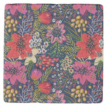 Vintage Bright Floral Pattern Marble Stone Coaster