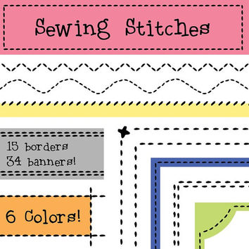 Sewing Stitches Borders and Banners, Classroom Download, Quilting Clip Art, Teachers Clip Art, Sewing Class, Classroom Clipart
