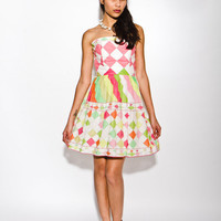 REDUCED was 859 now 750 collector's item vintage 1960s Emilio Pucci strapless harlequin print garden party sun dress