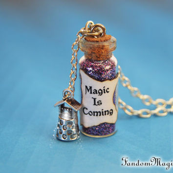 Magic is Coming Necklace with a Wishing Well Charm, Rumpelstiltskin,  ABC Television Show, Storybrooke