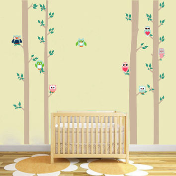 kcik1678 Full Color Wall decal bedroom children's Custom Baby Nursery tree nusery decal tree forest owl birds