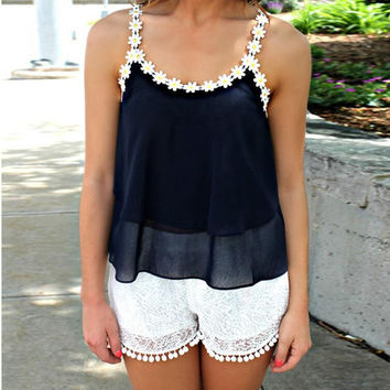 Floral Pattern Lace Chiffon Halter Top