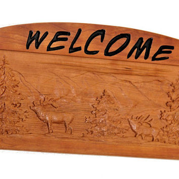 Welcome 3D Sign - Wood 3D Carved Sign - Rustic Welcome Sign - Wildlife Welcome Sign - Made in Michigan - Cherry Wood Sign