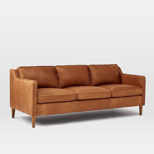 Hamilton leather sofa tan from west elm bed bath beyonce for West elm sectional sofa leather