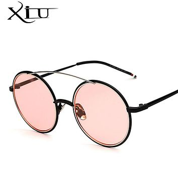 XIU Round Sunglasses Men Women Clear Eyeglasses Retro Vintage Brand Designer Sunglasses Twin Beam Top Quality UV400
