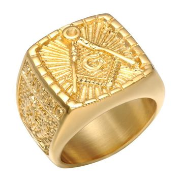 All Gold Vintage Trowel Masonic Ring