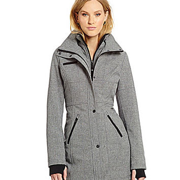 Jessica Simpson Faux-Fur Collar Soft Shell Jacket - Heather Grey