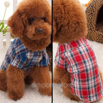 2014 NEW Smart Cute Pet Puppy Dog Cat Plaid Pattern Lapel Neck Clothes Apparel Coat T-Shirt = 1929809092