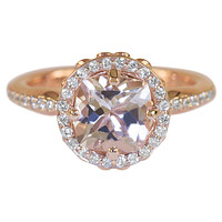 7mm Natural Cushion Morganite Center Diamond Halo Floral Basket Cathedral Design 14k Rose Gold Ring
