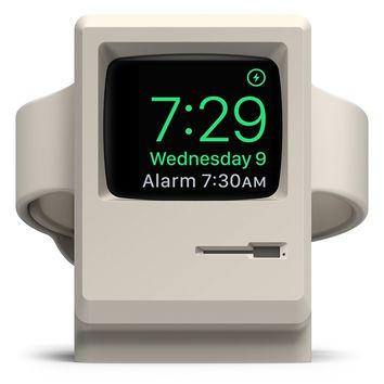 elago W3 Stand [Original Design Awards] [White] - [Vintage Apple Monitor][Supports Nightstand Mode][Cable Management] - for Apple Watch Series 1, 2, and 3