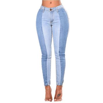 Classic  High Waist Warm Spliced Jeans For Woman