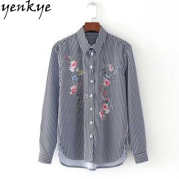 Women Vertical Striped Shirt Floral Embroidery Blouse Long Sleeve Turn-down Collar Ladies Office Shirts