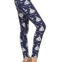 Women's Sailboat Leggings Nautical Anchors Blue/White:  OS/PLUS