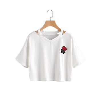 Women Summer T shirts Cut Out Neck Rose Embroidered Patch Tee White V Neck Short Summer Tops