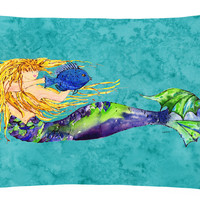 Blonde Mermaid on Teal Canvas Fabric Decorative Pillow 8724PW1216