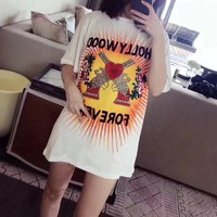 """""""Gucci"""" Women Casual Fashion Pistol Flower Embroidery Letter Print Short Sleeve T-shirt Top Tee"""