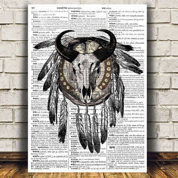 Steampunk poster Skull print Anatomy print Dictionary decor RTA1119