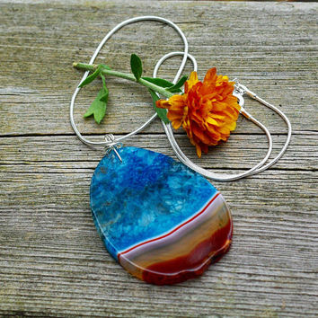 Turquoise Blue and Orange Agate Geode Stone Pendant on a Sterling Silver Chain ~ Agate Geode Necklace ~ Freeform Stone ~ Statement Necklace