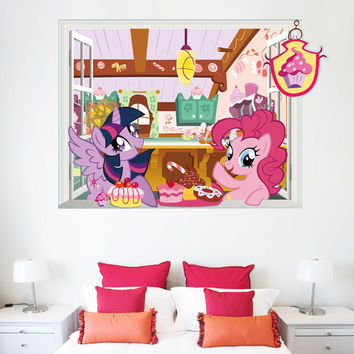 Twilight Sparkle Pinkie Piemy little pony wall stickers for kids rooms children room decor home decals mural art 3d window SM6