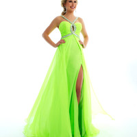 Mac Duggal Prom 2013 - Neon Lime Gown With Rhinestone Embellishments - Unique Vintage - Cocktail, Pinup, Holiday & Prom Dresses.