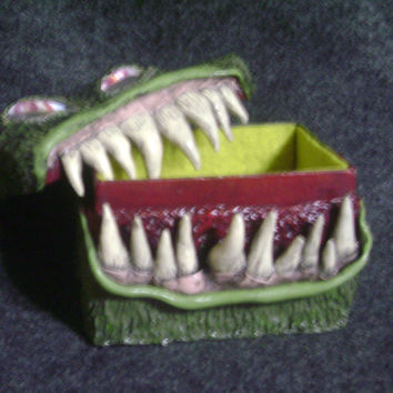 Large green creature box ~ rectangle polymer clay monster box with teeth
