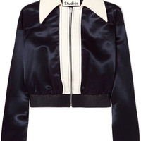 Acne Studios - Rosaleen cropped canvas-trimmed satin bomber jacket