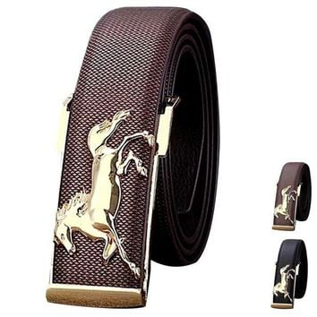 LMFLD1 Men Fashion Belts 2018 Gold Horse Leisure Leather Strap Business Men's Belt Metal Buckles Belt For Mens Male Boy