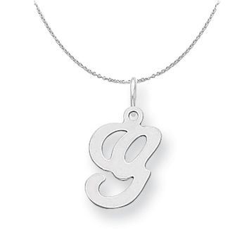 Sterling Silver, Sophia Collection, Small Script Initial G Necklace