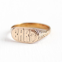 Antique BART Ring - Vintage 10k Rosy Yellow Gold Monogrammed Signet - Size 6 3/4 Vintage Edwardian 1900s Personalized Fine Name Jewelry