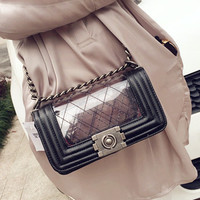 Black Quilted Bag with Transparent Panel