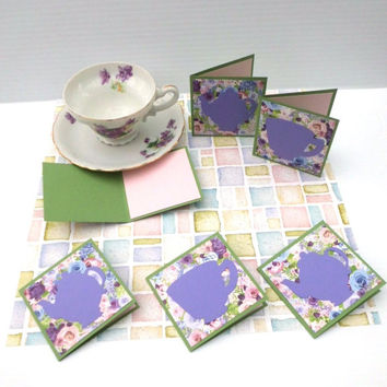 "Tea Time, Mini Note Cards, Set of 6, 3""x3"", Gift Tags, Thank You-All Occasion-Party-Invitation Cards, Fancy Blank Cards, TwoSistersGreetings"