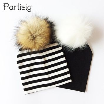 Baby Hat Faux Raccoon Fur Baby Boy Hat Artificial Hair Baby Girl Cap Winter Pompom Bobble Kids Cap Striped Children's Hats