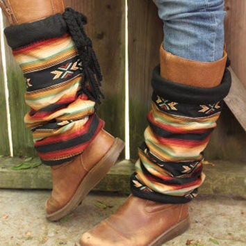 MOJAVE DESERT-Cotton&Fleece Legwarmers/boot cuffs/boot warmer/boot accessory/tribal boots scarf/fall fashion/Aztec print/Limitad/Exclusive
