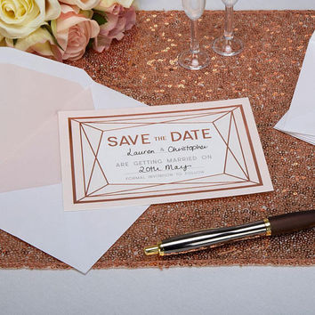 Beautiful Rose gold Save the date - 10 cards and envelopes pack-Wedding Day-Christening -Anniversary-Birthday
