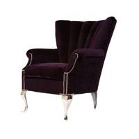 Pre-owned Purple Channel Back Wing Chair