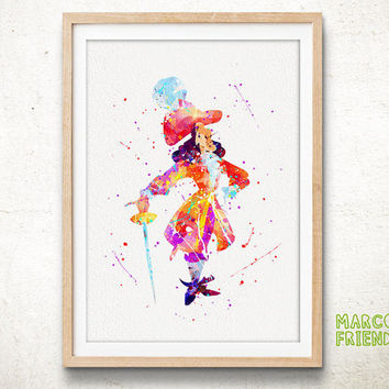 Peter Pan, Captain Hook - Watercolor, Art Print, Home Wall decor, Watercolor Print, Disney Poster