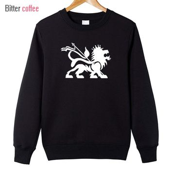BITTER COFFEE 2017 Autumn and winter  Lion Of Judah  Reggae Bob Marley Rasta printing Hoodies & Sweatshirts Mens Hoodies