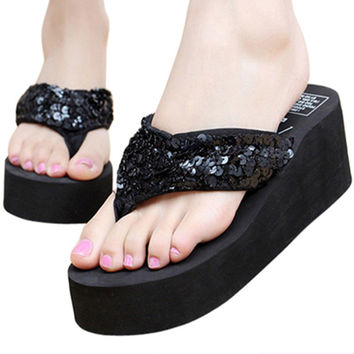 2016 Summer Bowknot Shoes Woman Sandals Hawaii Beach Flat Wedge Flip Flops Lady Slipper