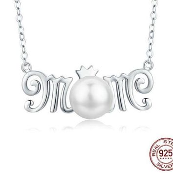 925 Sterling Silver & Pearl Crown Queen MOM Pendant Necklace