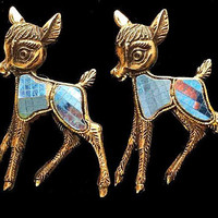 """Two Bambi Deer Pin Brooches Blue Glass Inlay Gold Etched metal 1 1/2"""" Vintage 1950s"""