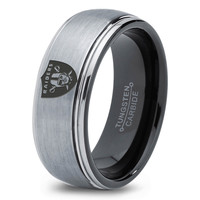Oakland Raiders Ring Mens Fanatic NFL Sports Football Boys Girls Womens NFL Jewelry Fathers Day Gift Tungsten Carbide 123B