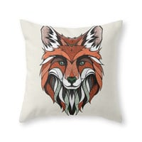 Society6 Fox // Colored Throw Pillow