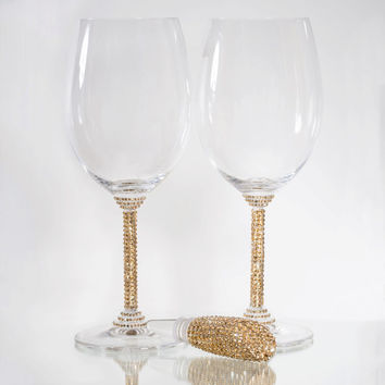 Customized Waterford Champagne or wine glasses with Swarovski Element detail by Harriet and Hazel