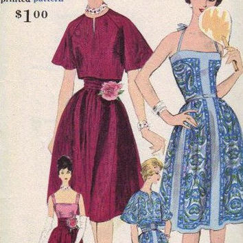 Vogue 9952 Sewing Pattern 50s Party Dress Full Swing Skirt Bare Shoulders Camisole Top Tied Halter Bolero Jacket Uncut FF Bust 34