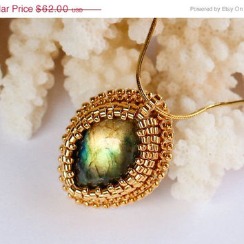 ON SALE Gold Necklace with Natural Gold Flash Labradorite. Embroidered Designer Bridal Jewelry.