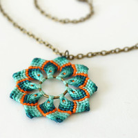 Mandala flower pendant macramè green orange boho