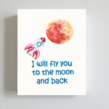 Art print, poster, children's room art, I will fly you to the moon, Savage Garden lyrics, quote prints, home decor, art for kids room, gifts