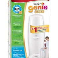 Playtex Diaper Genie Elite Diaper Disposal Pail, White (Discontinued by Manufacturer)