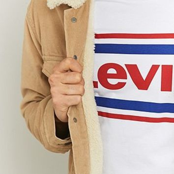 Levis Chino Corduroy Sherpa Trucker Jacket - Urban Outfitters